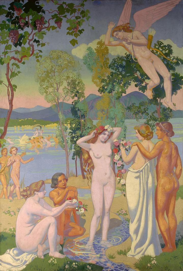 maurice-denis-psyche-panel-1-eros-is-struck-by-psyche-1039-s-beauty-1908-trivium-art-history