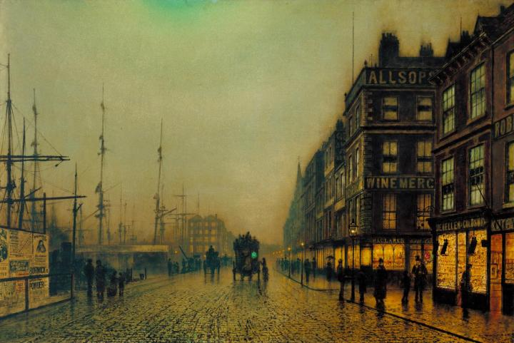 Liverpool Quay by Moonlight 1887 by Atkinson Grimshaw 1836-1893