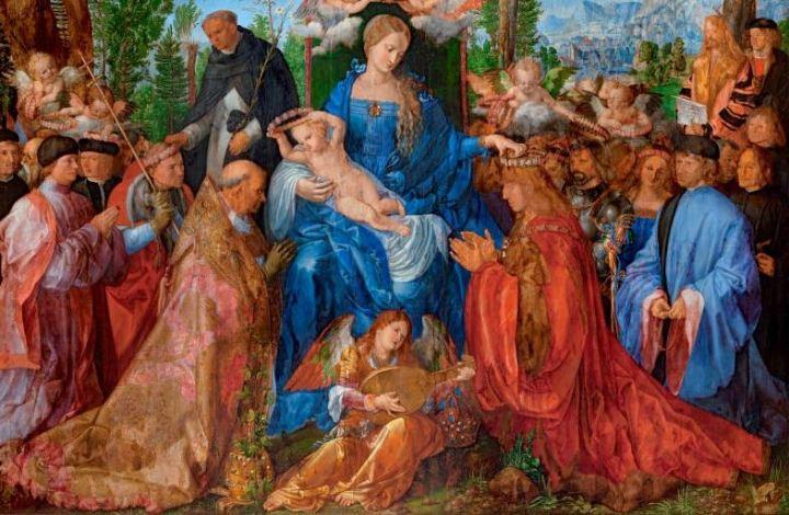 deel cDÜRER-Albrecht-Dürer-Rozenkransfeest-Národní-galerie-v-Praze-Praag