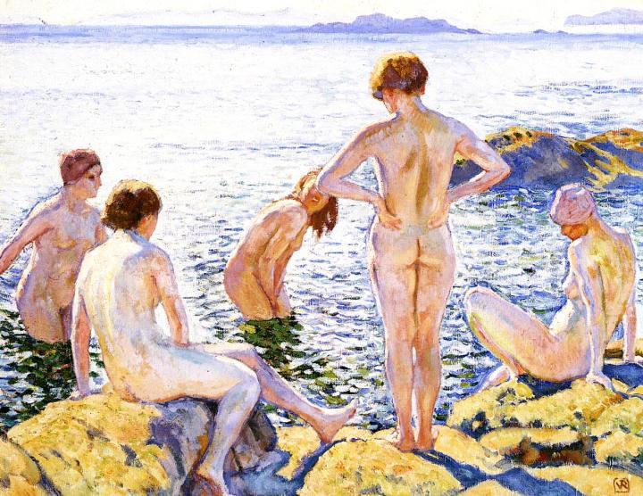 Bathers-1920-Theo-Van-Rysselberghe-oil-painting-1