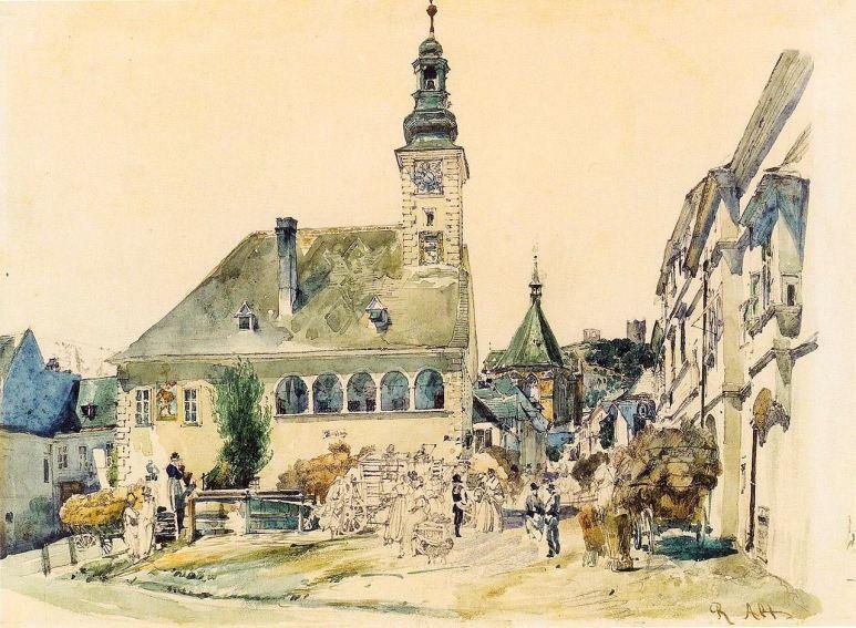 1280px-Rudolf_von_Alt_-_Das_Rathaus_in_Mödling,_1842