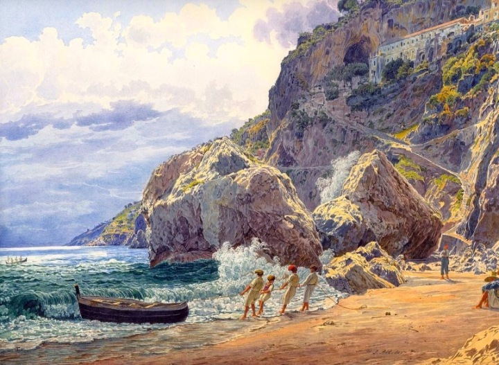 A View from Amalfi, c.1837, Watercolor on Parchment-Jakob -Rolled Canvas