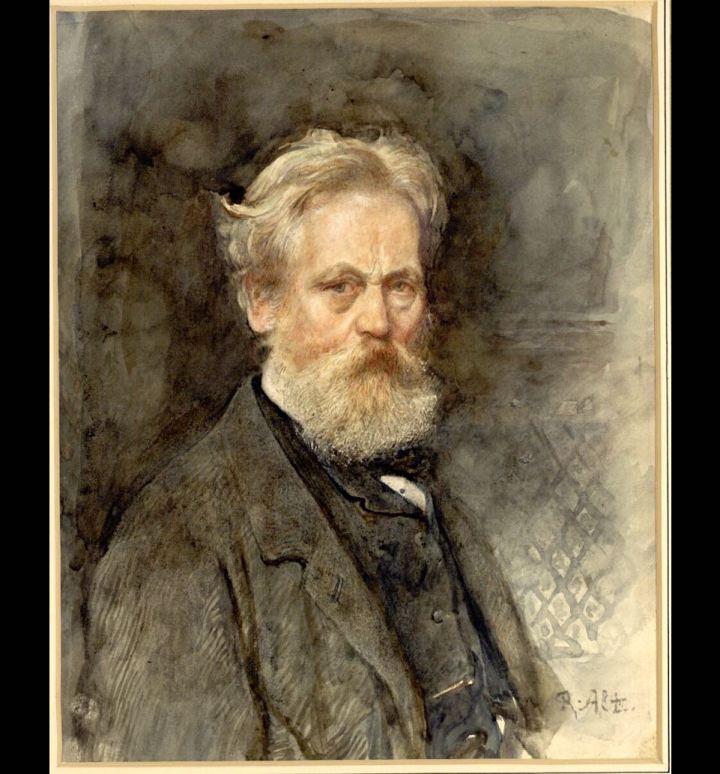 Selbstbildnis des Künstlers; Brustbild im Profil nach rechts
