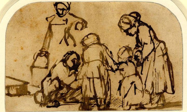 kind leert lopen rembrandt bw