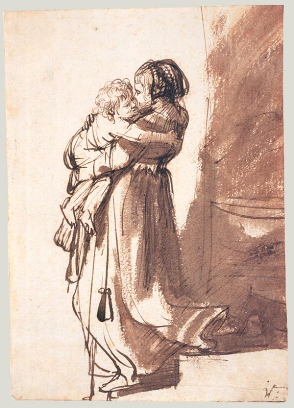 Rembrandt_vrouwmetkindoptrap