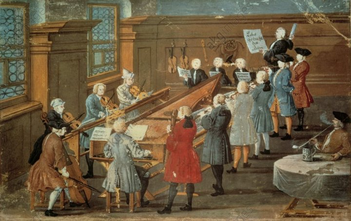 Die Kantatenprobe / Gouache / 1775 - Cantata Rehearsal / Gouache / 1775 - Répétition des cantates/ Gouache / 1775