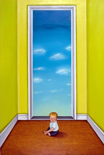 boy in clouds oil on birch panel 33x22 2008