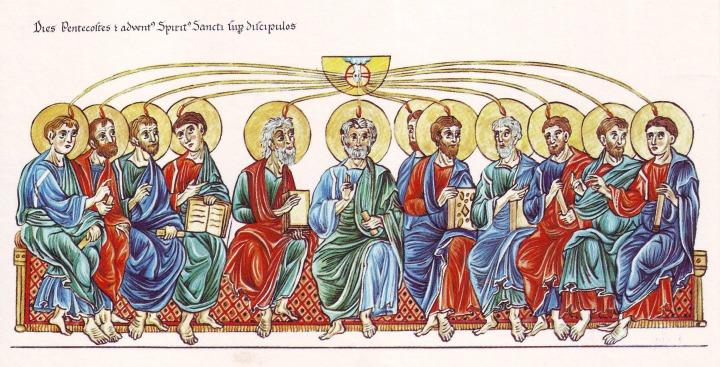 Hortus_Deliciarum_Pfingsten_und_die_Aussendung_des_Heiligen_Geistes_auf_die_Apostel