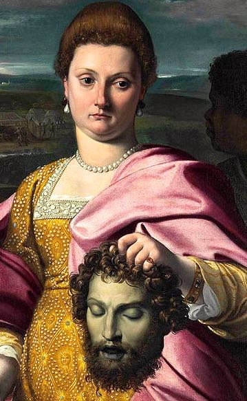 detail portrait-of-olimpia-luna-and-melchiorre-zoppio-as-judith-and-holofernes-agostino-carracci-